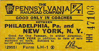 Pennsylvania Railroad - PRR Phila/NY coach ticket (c.1955)