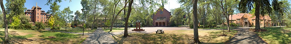360° panorama of Pacific Lutheran University's campus as seen on a summer afternoon.