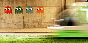 Invader (artist) - Invader's Pac-Man mosaics in Bilbao (BBO 24–27), near the Guggenheim Museum