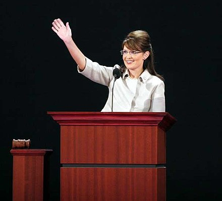 Palin addresses the 2008 Republican National Convention in Saint Paul, Minnesota Palin waving-RNC-20080903 cropped.jpg