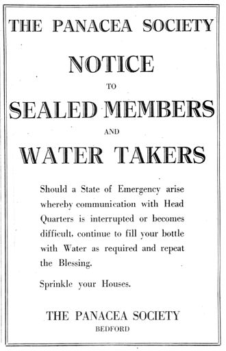 Panacea Society - The notice placed in The Daily Telegraph by the society on the outbreak of the Second World War on 4 September 1939.