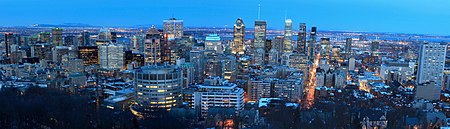 View of Montreal from the Mont-Royal belvedere Panorama Montreal Skyline 2017.jpg