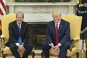Italy–United States relations - Italian Prime Minister Paolo Gentiloni with US President Donald Trump.