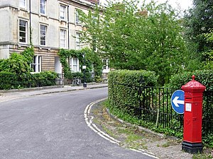 Park Town, Oxford - North side of the main Park Town crescent, with a traditional Victorian Penfold-style hexagonal pillar box.