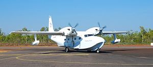 Mungalalu Truscott Airbase - One of the Paspaley Pearl company's Grumman Mallards taxis into Truscott Airbase to pick up rotating crew transferring to remote pearl farm operations via the flying boats in 2007