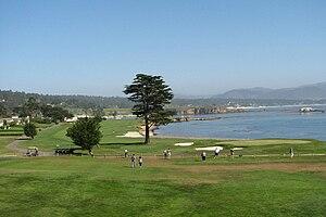 Pebble Beach Golf Links 18th hole, California,...
