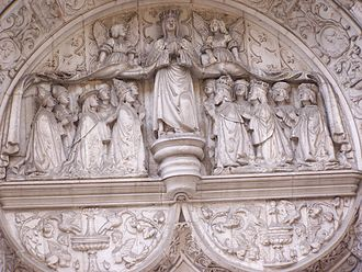 Church of Nossa Senhora da Conceição Velha - Detail from the tympanum, showing the signette of the Misericórdia