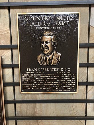 Pee Wee King - Pee Wee King's Country Music Hall of Fame Plaque located in the Hall of Fame Rotunda in Nashville, TN.