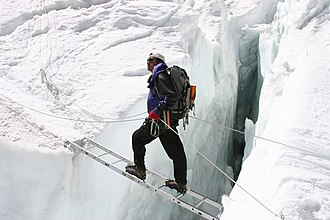Pem Dorjee Sherpa - Pem Dorjee crossing the Khumbu Icefall