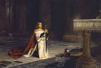 Sir Gawain and the Green Knight - Gawain represented the perfect knight, as a fighter, a lover, and a religious devotee. (The Vigil by John Pettie, 1884)