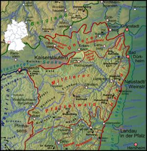 Queitersberg - Image: Pfaelzerwaldkarte Quaidersberg