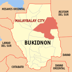 Map of بوکیدنون showing the location of Malaybalay City