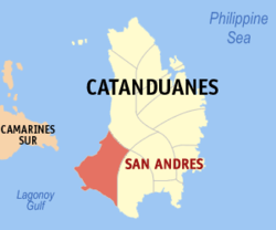 Map of Catanduanes with San Andres highlighted