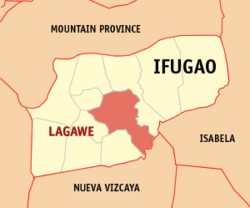 Map of Ifugao showing the location of Lagawe