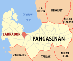 Map of Pangasinan showing the location of Labrador