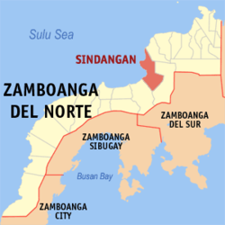 Map of Zamboanga del Norte with Sindangan highlighted