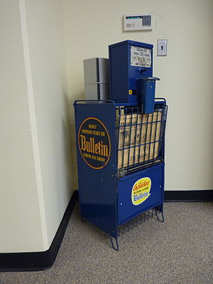 Philadelphia Bulletin - Philadelphia Evening Bulletin newspaper vending machine, with last issue, from Temple University archives