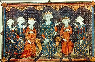 Isabella of France - Isabella's French family, depicted in 1315: l-r: Isabella's brothers, Charles and Philip, Isabella herself, her father, Philip IV, her brother Louis, and her uncle, Charles of Valois. Bibliothèque Nationale de France.
