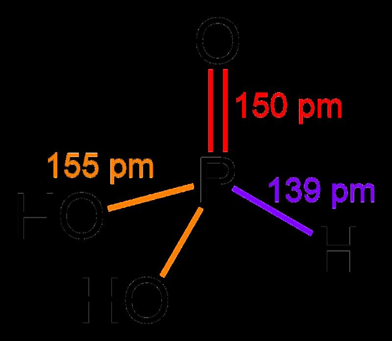 Wireframe model of phosphorous acid