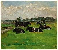 Piet Mondriaan - Polder landscape with group of five cows - A225 - Piet Mondrian, catalogue raisonné.jpg