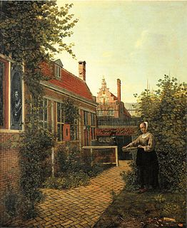 <i>A Woman with a Basket of Beans in a Garden</i> painting by Pieter de Hooch