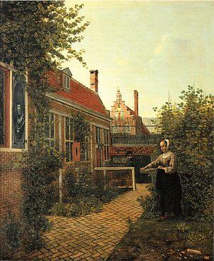 A Woman with a Basket of Beans in a Garden - Image: Pieter de Hooch Frau mit Bohnenkorb im Gemüsegärtchen