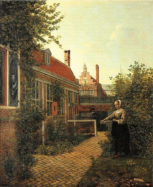 File:Pieter de Hooch - Frau mit Bohnenkorb im Gemüsegärtchen.jpg