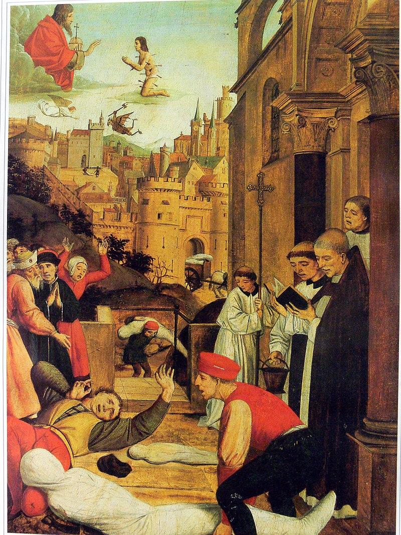 Aziz Sebastian, Justinianus Veba sırasında vebadan etkilenen bir mezar kazıcısının hayatı için İsa'ya yalvarır. (Josse Lieferinxe, 1497-1499 dolayları)