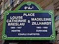Plaque place Louise-Catherine-Breslau-et-Madeleine-Zillhardt, Paris 6e.jpg