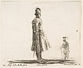 Plate 20- an old Polish nobleman wearing a plumed hat in center, standing in profile facing right, another Polish man to right in background, standing in profile facing left, from 'Diversi capricci' MET DP817347.jpg