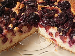 Plum cake - A plum cake with plums baked inside and atop the cake