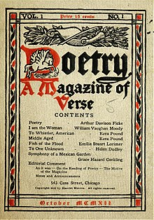 A magazine cover printed in black and red on an off-white background. A scroll and a winged horse adorn the title Poetry: A Magazine of Verse.