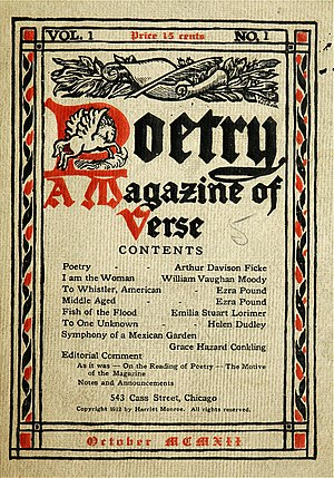 Chicago literature - The first issue of Chicago-based Poetry magazine appeared in 1912.