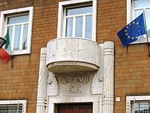 Balcone dell'ex Casa del Fascio