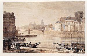 Pont Saint-Louis - The bridge in the 19th century
