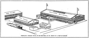 Portland Woolen Mills - A drawing of the Portland Woolen Mills in St. Johns.
