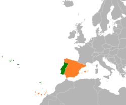 Map indicating locations of Portugal and Spain