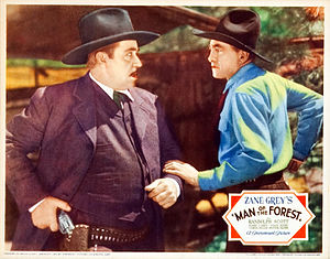 Man of the Forest - Noah Beery battles Harry Carey in Man of the Forest