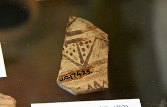 Umm El Qa'ab - Pottery sherd, from stump base of a jug. 1st Dynasty. From the Royal Tomb of Semerkhet at Umm el-Qa'ab, Abydos, Egypt. The Petrie Museum of Egyptian Archaeology, London