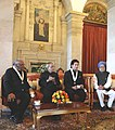 Pranab Mukherjee and the Prime Minister, Dr. Manmohan Singh with the recipients of the Bharat Ratna Awards 2014 Prof. Chintamani Nagesa Ramachandra Rao and Shri Sachin Ramesh Tendulkar, during an Investiture Ceremony.jpg