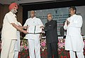 Pranab Mukherjee presenting the N.G. Ranga Farmer Award for Diversified Agriculture, at the 85th Foundation Day Lecture of ICAR, in New Delhi. The Union Minister for Agriculture and Food Processing Industries.jpg