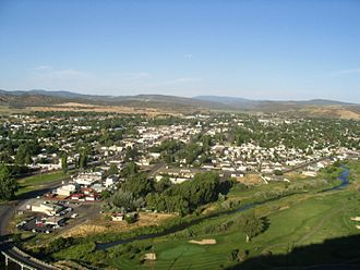 Central Oregon - Panorama of Prineville in Crook County, and the Ochoco Mountains.