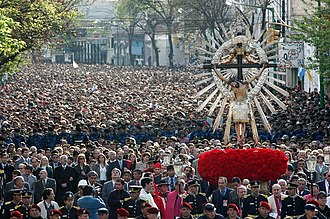 Religion in Argentina - Procession of Our Lord and the Virgin of the Miracle in Salta city. Christianity is the largest religion in Argentina.