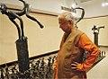 Prof. KG Subramanyan viewing Liminal Figures - Liminal Space, Birla Academy, Kolkata, 2008.jpg
