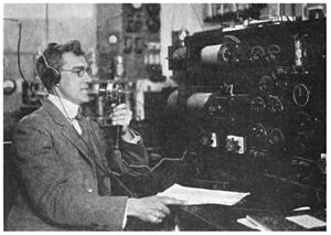 WHA (AM) - Image: Professor Alfred Haake broadcasting over WHA 1922