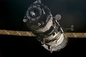 Progress M1-4 - Progress M1-4 during its first docking with the ISS