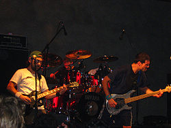 "Propagandhi (from left to right: David ""The Beaver"" Guillas, Jord Samolesky, Todd Kowalski) performing at Galpón Víctor Jara in Santiago, Chile, 2007"