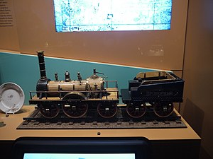Tsarskoye Selo Railway - Model of Provorny Russia's first main line passenger locomotive built by Robert Stephenson and Company for the Tsarskoye Selo Railway. The model is at the Russian Railway  Museum