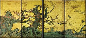 Japanese painting - Set of sliding doors of Plum tree by Kanō Sanraku, early 17th century