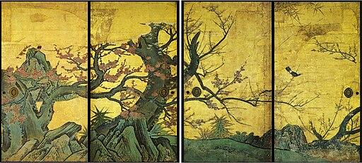 Prune sur paravent par Kanō Sanraku